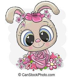 lapin blanc, fond, flowerson, dessin animé