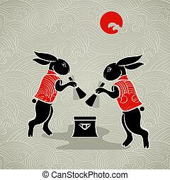 lapins, lune