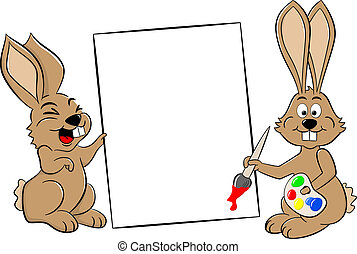 lapins, paques, deux, signe