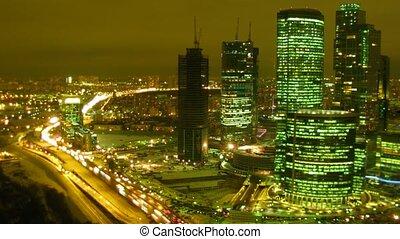 lapse., gratte-ciel, temps, highway., city:, nuit, illumination, mouvement