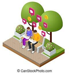 laptop., homme, bubbles., messages, isométrique, femme, plat, illustration, chat., sms, vivant, service, vecteur, parole, message, dactylographie, court
