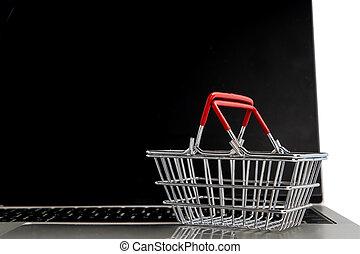 laptop., panier, concept., faire courses ligne