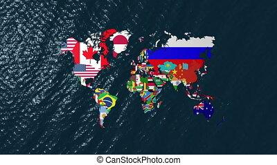 large, 3d, drapeaux, mondiale
