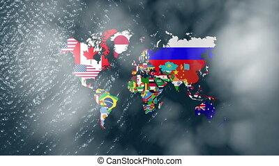 large, 3d, nuages, drapeaux, mondiale