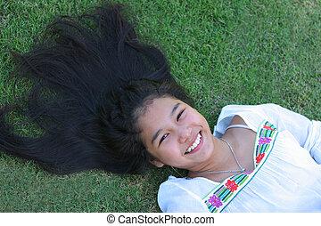 large, girl, asiatique, sourire