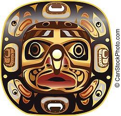 large, masque, symbole, américain, white., lune, indigène