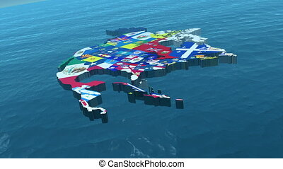 large, usa, état, drapeaux, hd, 3d