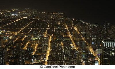 large, vue, nuit, aérien, chicago