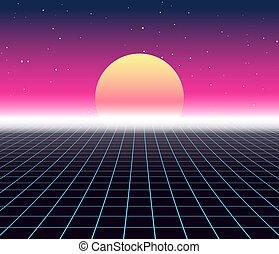 laser, arcade, espace, affiche, néon, vague, arrière-plan., jeu, vecteur, grille, retro, synth, 80s, vapeur, synthwave, futuriste