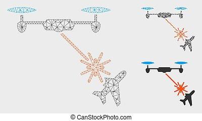 laser, attaques, maille, bourdon, 2d, vecteur, triangle, avion, modèle, mosaïque, icône