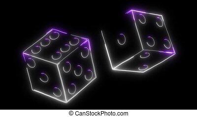 laser, dés, signe casino, animation, vidéo