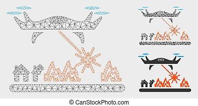 laser, réseau, attaques, maille, bourdon, vecteur, village, triangle, modèle, mosaïque, icône