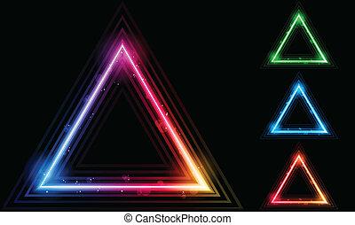 laser, triangle, frontière, ensemble, néon