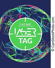 lasertag, laser, cible, affiche, flyer., étiquette, but, jeu, vecteur, bannière, amusement, coup, partie.