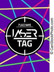 lasertag, laser, cible, affiche, flyer., néon, but, jeu, vecteur, bannière, amusement, coup, étiquette, partie.