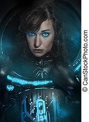 latex, brunette, armure, science, fiction, fantasme, scène, noir, déguisement, sexy