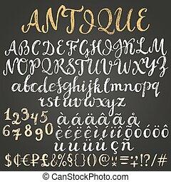 latin, craie, alphabet, scénario
