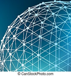 lattice., dots., connecté, grille, balle, points., résumé, maille, moléculaire, structural, lignes, portée, arrière-plan., polygons., polygonal