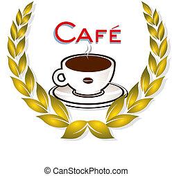 laurier, café, couronne