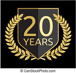 laurier, doré, couronne, 20 années