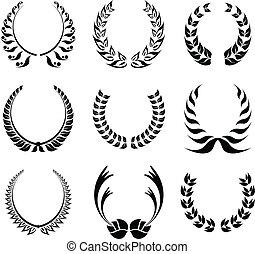 laurier, symbole, couronne, ensemble
