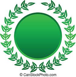 laurier, vecteur, vert, illustration