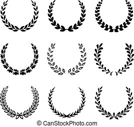 laurier, wreaths., ensemble, noir, 2.