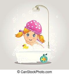 lavage, chapeau, bath., bain, dorlotez fille, bulle, prendre