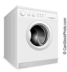 lavage, illustration., isolé, machine, vecteur, fond, blanc