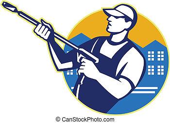 lavage, puissance, blaster, ouvrier, pression eau