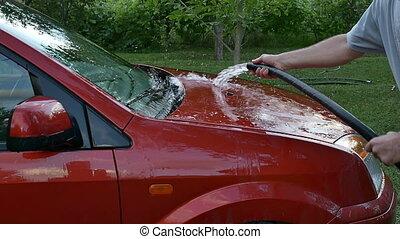 lavage voiture, rouges, main