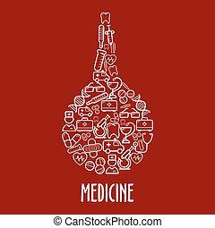lavement, monde médical, arranger, forme, icônes