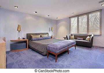 lavendar, maître, carpeting, chambre à coucher