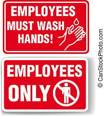 laver, employés, signes, seulement, mains