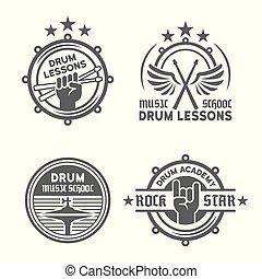 leçons, vecteur, ou, emblèmes, vendange, école, tambour