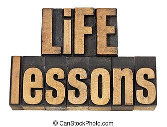 leçons, vie, texte, -, bois, type