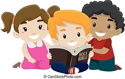 lecture, bible, enfants