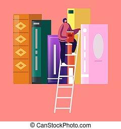 lecture, caractère, femme, illustration, dépenser, athenaeum, salle, vecteur, étagère, temps, dessin animé, storage., books., jeune, littérature, étudiant, minuscule, femme, bibliothèque, échelle, recherche, girl