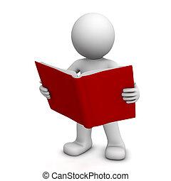 lecture, caractère, livre, 3d