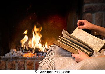 lecture, cheminée, livre