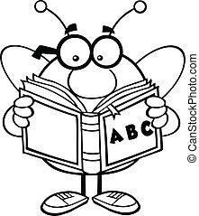 lecture, esquissé, abc, livre, abeille