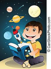 lecture garçon, livre, astromomie