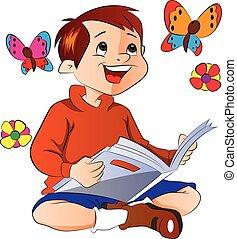 lecture garçon, livre, illustration