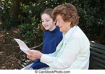 lecture, grand-maman