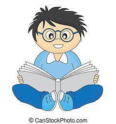 lecture, heureux, enfant