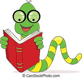 lecture, heureux, livre, ver