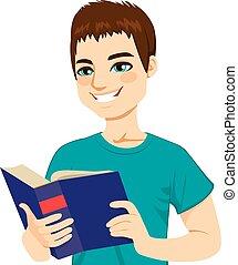 lecture, homme, apprécier