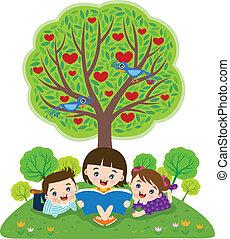 lecture, livres, enfants