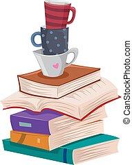 lecture, loisir, livres, long, tasses, pile
