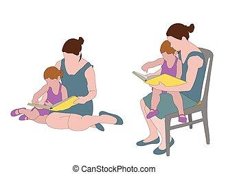 lecture, mère, livre, enfant